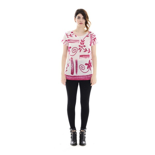 Trisha Tyler Women's Fucshia/White Polyester Short Sleeves Printed Tee