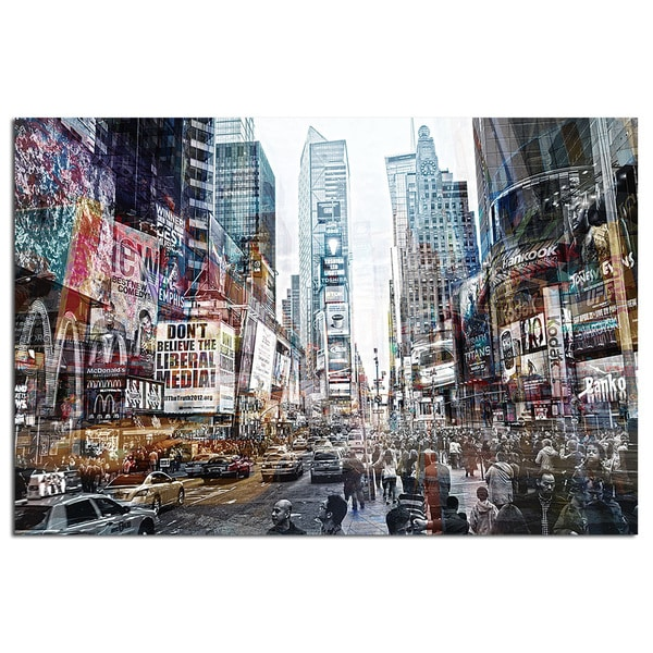 Modern Home Tempered Glass Ultra-high Resolution 3D Times Square New York 2 Wall Art
