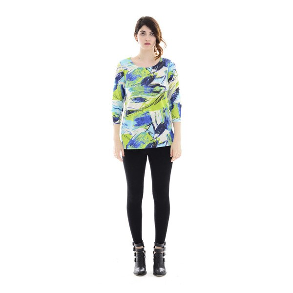 Trisha Tyler Women's Lime and Turquoise Polyester 3/4-sleeve Side-button Printed Top