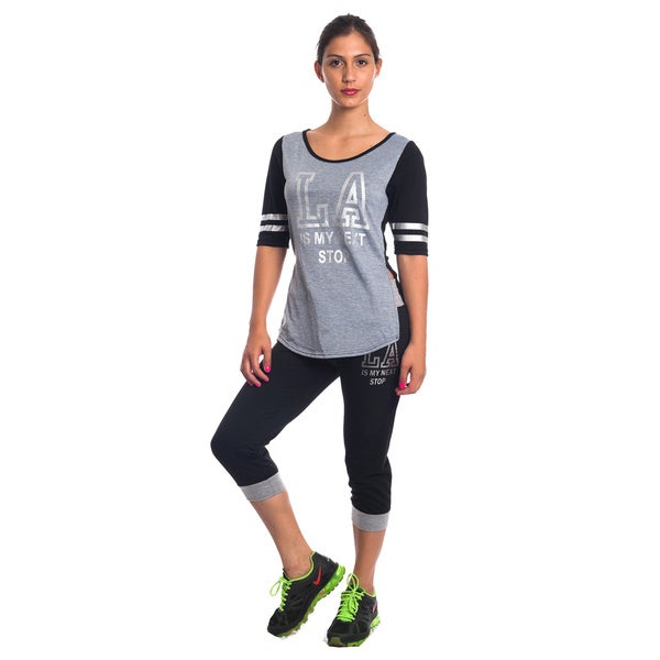 Special One Women's Blue/Black/Grey Cotton/Polyester 2-Piece Knit Activewear Set 19222113