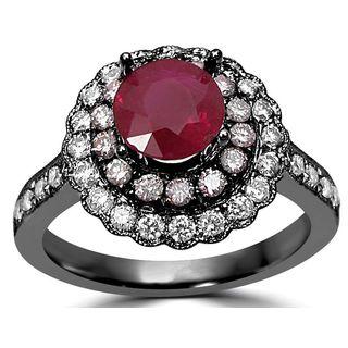 Noori 14k Black Gold 3/5-carat Ruby Pink Diamond Engagement Ring