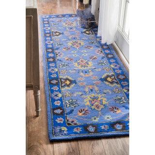 nuLOOM Handmade Overdyed Persian Wool Blue Runner Rug (2'6 x 8')
