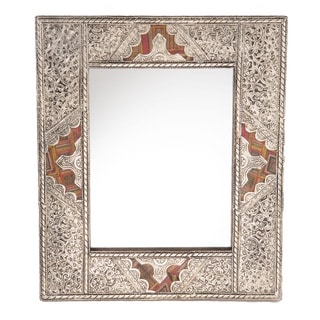 15.5-inch Metal and Leather Mirror (Morocco)