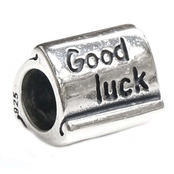 Queenberry Sterling Silver Good Luck Scrolls European Bead Charm