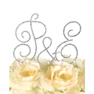 Simply Elegant Collection Silver Rhinestone Monogram Cake Toppers