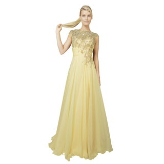 Mac Duggal Yellow Beaded Illusion Neckline High Slit Prom Evening Gown Dress
