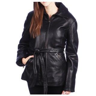 Women's Black Lamb Leather 3/4 Belted Jacket