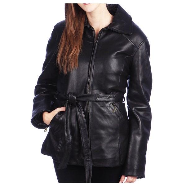 Women's Black Lamb Leather 3/4 Belted Jacket
