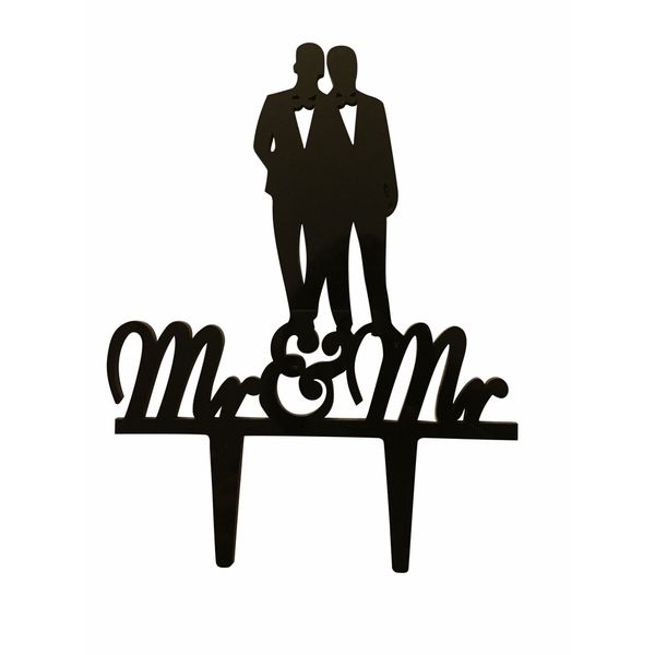 Mr. & Mr. Couple Silhouette Black Acrylic Wedding Cake Topper