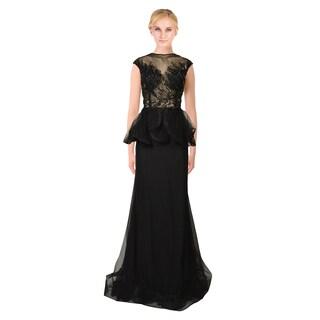 Mac Duggal Black Embellished Sheer Illusion Bodice Peplum Prom Evening Gown Dress Size 16