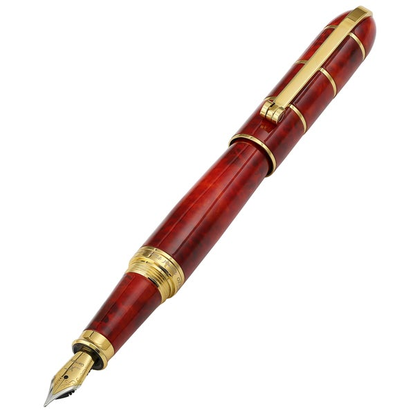 Xezo Eternal Flame Red 18k Gold Plated Solid Brass Hand-enameled Weighty Balanced Fountain Pen With Screw-on Cap