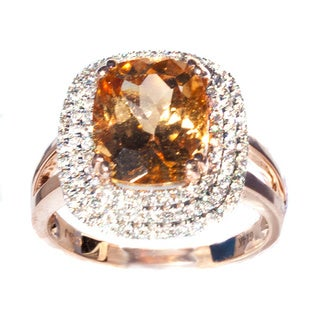 California Girl Jewelry Two-tone Gold Yellow Imperial Hessonite Garnet and Diamond Ring