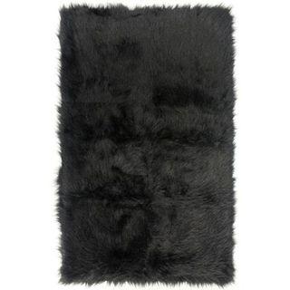 Black Faux Fur Sheepskin Shag Area Rug (5' x 7')