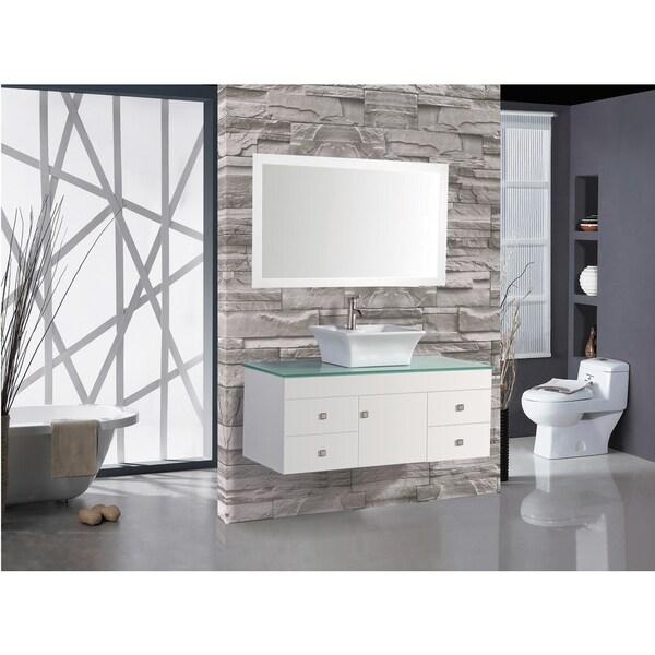 Nepal White Woodoakceramic Single Sink Wall Mounted Bathroom Vanity