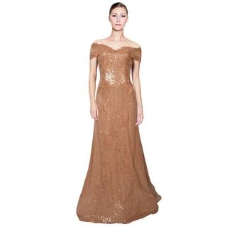 Rene Ruiz Apricot Lace Sequins Applique Off Shoulder Evening Gown Dress