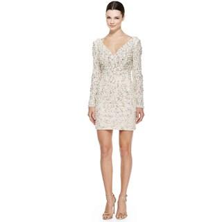 Jovani Ivory Long Sleeve V-Neck Beaded Lace Sheath Cocktail Dress Size 0