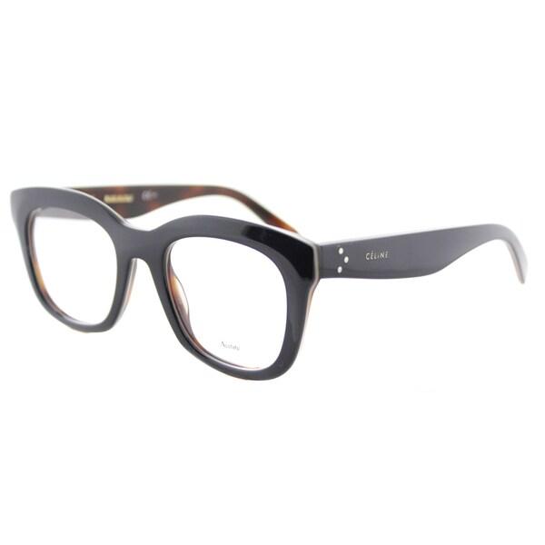 Celine Navy on Beige Havana Plastic 48-millimeter Square Eyeglasses 19223587