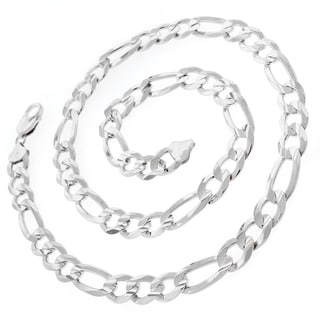 .925 Sterling Silver 10.5-millimeter Solid Figaro Link ITProLux Necklace Chain