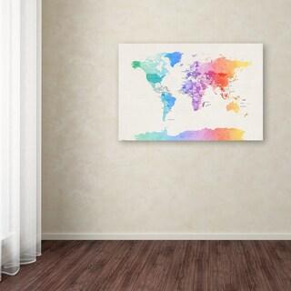 Michael Tompsett 'Watercolor Political World Map' Canvas Art