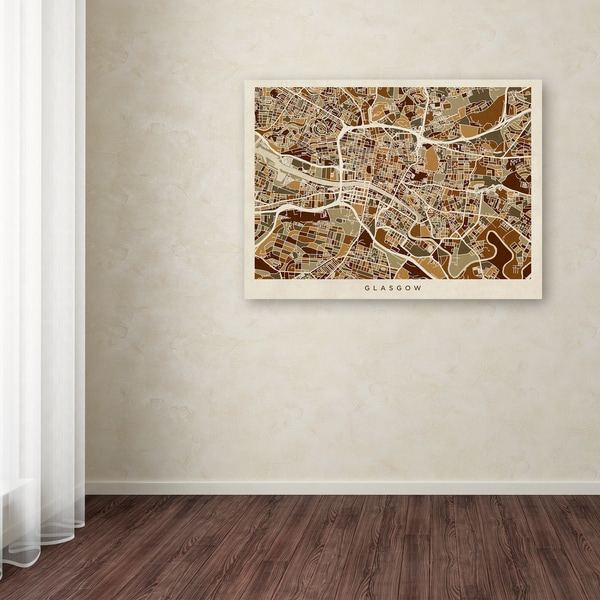 Michael Tompsett 'Glasgow Street Map Brown' Canvas Art