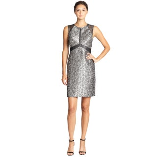 Phoebe by Kay Unger Silver Metallic Sleeveless Jacquard Sheath Cocktail Dress