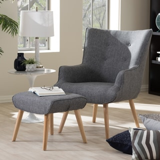 Baxton Studio Alkyone Mid-Century Inspired Grey Fabric Upholstered Occasional Armchair and Ottoman Set