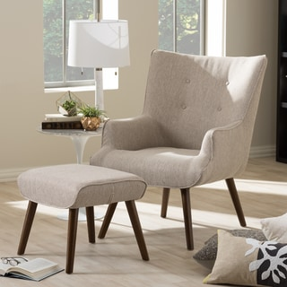 Baxton Studio Alkyone Mid-Century Inspired Beige Fabric Upholstered Occasional Armchair and Ottoman Set