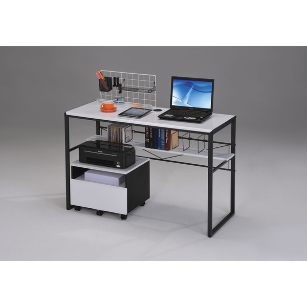 Ellis Black and White MDF and Metal Computer Desk