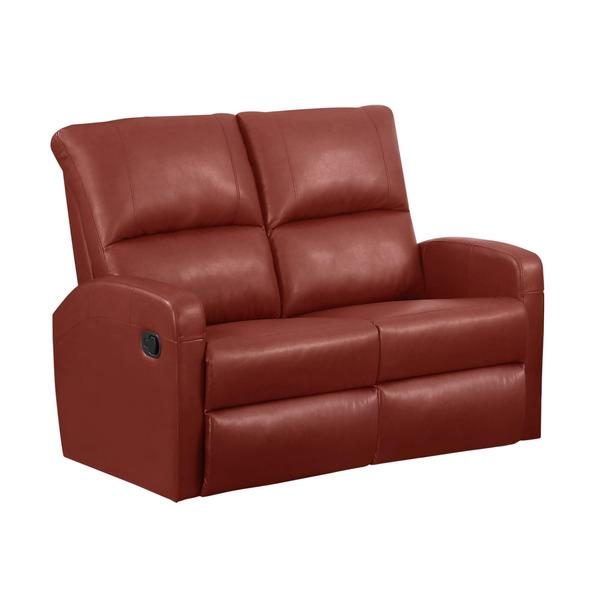 Monarch Red Bonded Leather/Foam Reclining Loveseat