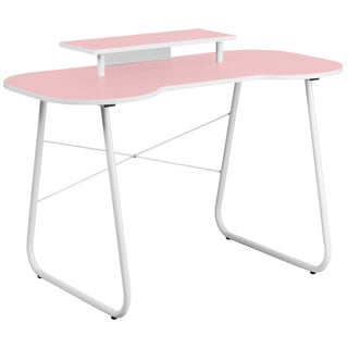 White Frame Pink Top Office Computer Desk with Monitor Platform