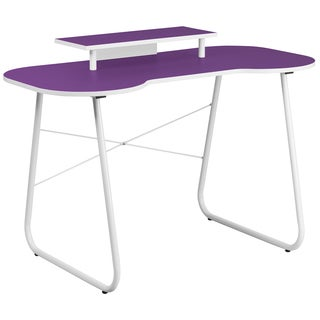 Purple-top Office Computer Desk With Monitor Platform and White Frame