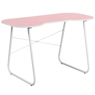 Pink-top Office Computer Writing Desk with White Frame