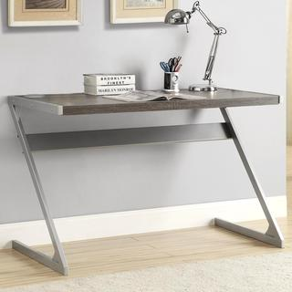 Sleek Modern Z-style Weathered Grey Writing/ Computer Desk with Bluetooth Speakers