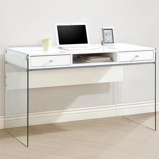 Contemporary Modern Style Glass Home Office Glossy White Computer/ Writing Desk with Drawers