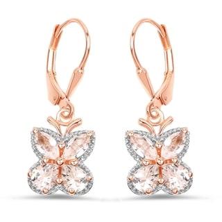 Malaika 18k Rose Gold-plated 0.925 Sterling Silver 1.88-carat Genuine Morganite Earrings