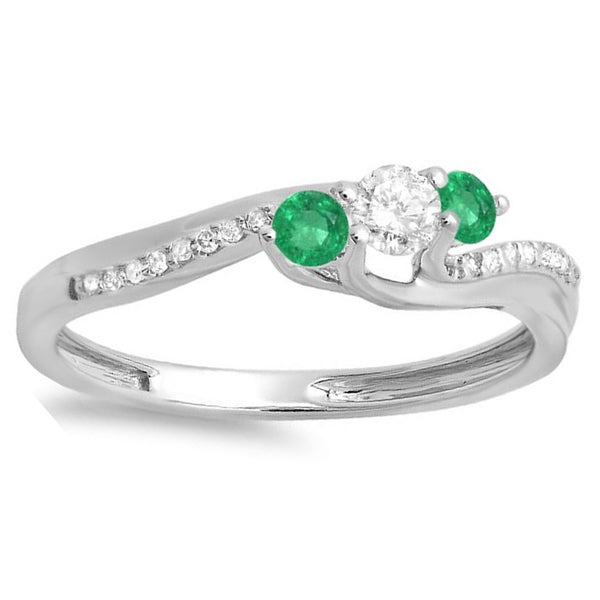 14k White Gold 1/2-carat Round Green Emerald and White Diamond 3-stone Swirl Bridal Engagement Ring