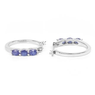 Malaika .925 White Sterling Silver 1.32k Genuine Blue Sapphire Earrings