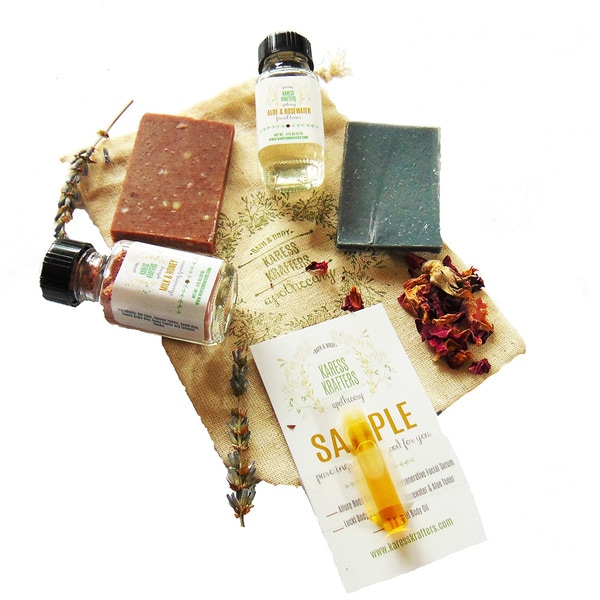 Facial Sampler, Charcoal Soap, Rosehip Soap, Balancing Toner, Nourishing Mask, Regenerating Serum by Karess Krafters Apothecary