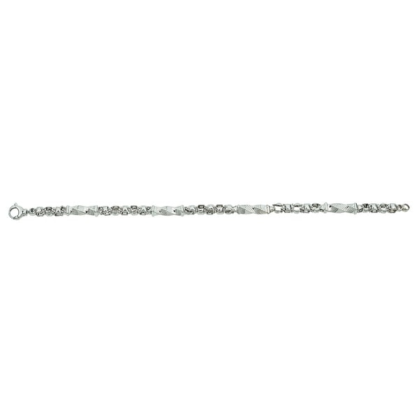 Decadence 14k White Gold Twist Tube 8.5-inch Bracelet