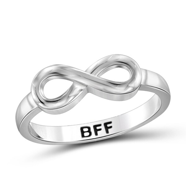 Jewelonfire Sterling Silver Engraved BFF Infinity Ring