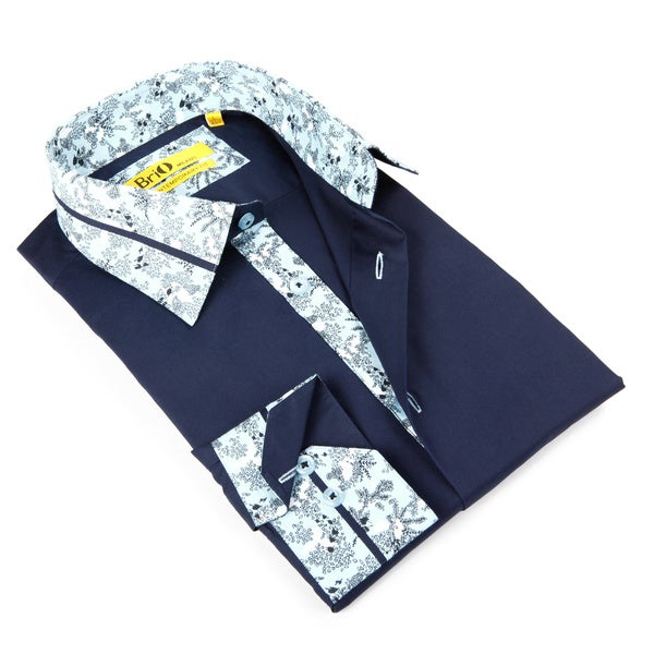 Brio Mens Navy with Floral Trim Dress Shirt