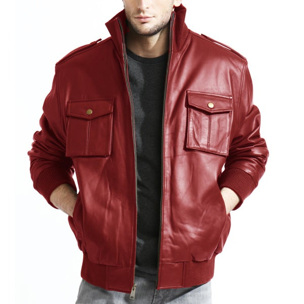 Tanners Avenue Men's Red Lambskin Leather Bomber Jacket