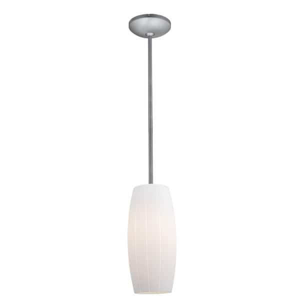 Access Lighting Cognac Steel Integrated LED Rod Pendant, White Shade