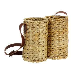 Household Essentials Water Hyacinth Wicker Bottled Wine Caddy