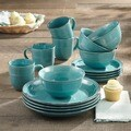 Madelyn Aqua-blue Earthenware 16-piece Dinnerware Set