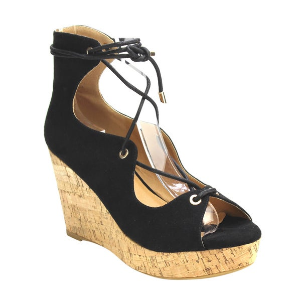 DBDK AC30 Women's Faux Suede Lace-up Cut-out Platform High Heel Wedge Sandals