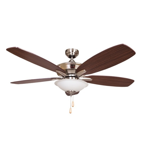 Alexis Five Blade Ceiling Fan with Brushed Nickel Finish with Brown Blades and White Frosted Glass