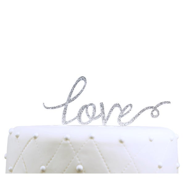 Unik Occasions Silver Glitter Love Acrylic Wedding Cake Topper