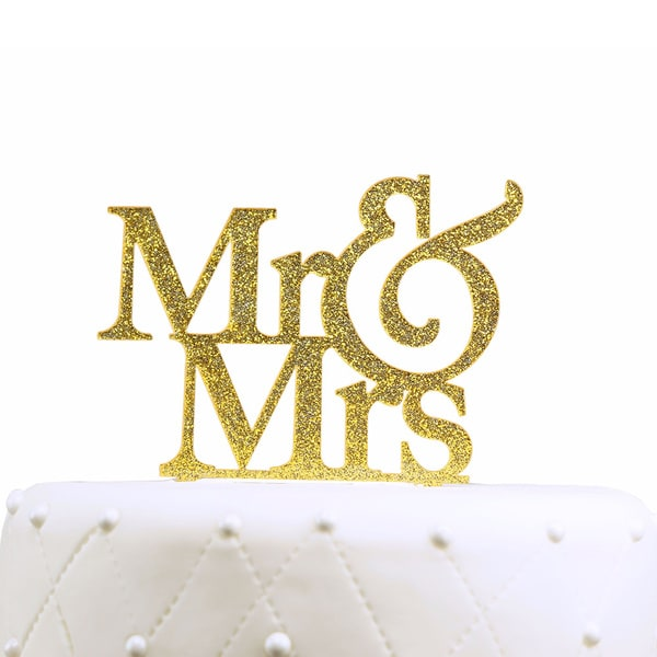 Unik Occasions Mr & Mrs Gold Glitter Acrylic Large Cake Topper