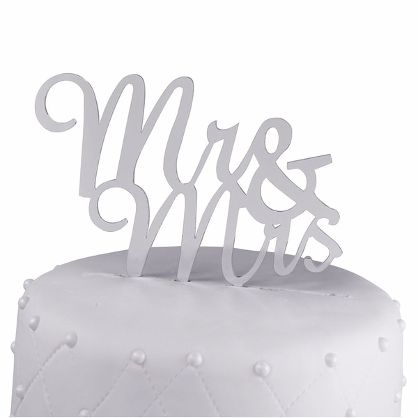 Mr & Mrs Script Silver Mirror Acrylic Wedding Cake Topper